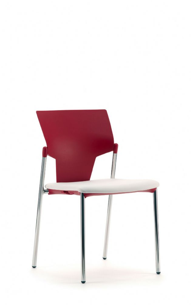 Pledge Ikon Chair With Upholstered Seat And Plastic Back With 4 Leg Frame without Arms